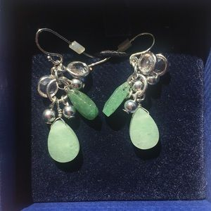Green stone and metal earrings from The Limited